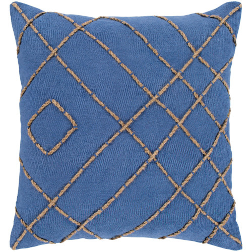 """22"""" Navy Blue and Brown Striped Square Throw Pillow - Down Filler - IMAGE 1"""