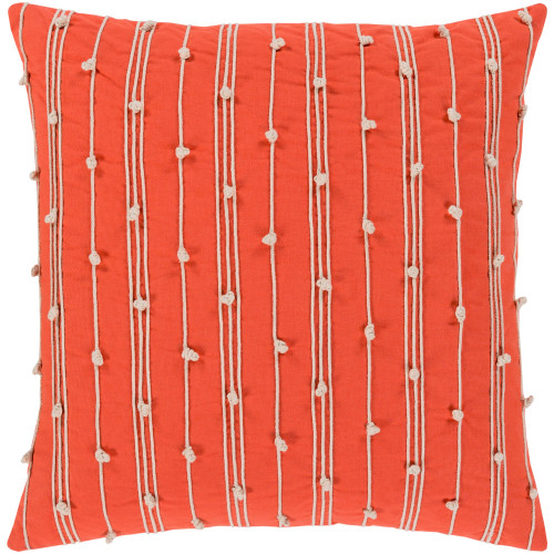 "22"" Orange and White Woven Square Throw Pillow - Poly Filled - IMAGE 1"