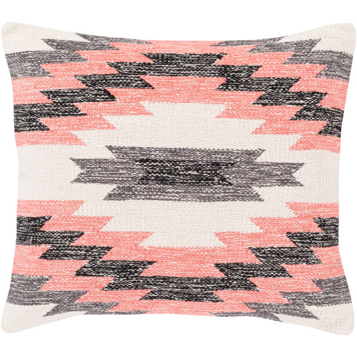 """18"""" Pink and Ivory Contemporary Square Throw Pillow - Down Filler - IMAGE 1"""