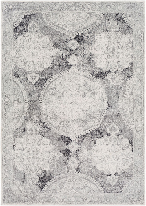 2' x 3' Distressed Gray and White Rectangular Area Throw Rug - IMAGE 1