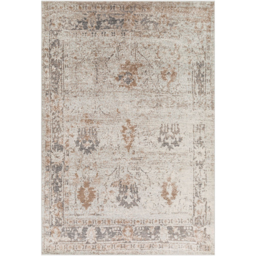 2' x 3' Distressed Finish Brown and Gray Rectangular Area Throw Rug - IMAGE 1