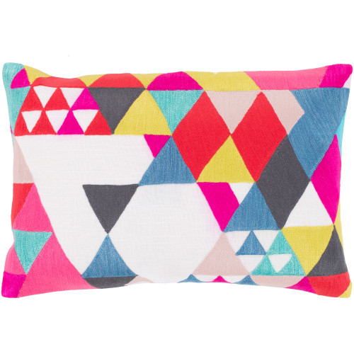 """19"""" White and Pink Rectangular Throw Pillow - Poly Filled - IMAGE 1"""