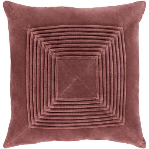 """20"""" Brown Pleated Square Throw Pillow with Knife Edge - Poly Filled - IMAGE 1"""
