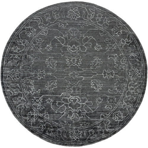 8' Floral Design Black and Gray Round Area Throw Rug - IMAGE 1