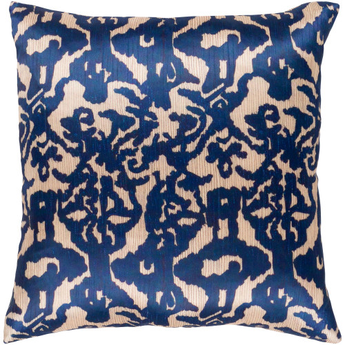 """20"""" Navy Blue and Brown Damask Patterned Square Woven Throw Pillow – Polyester Filler - IMAGE 1"""