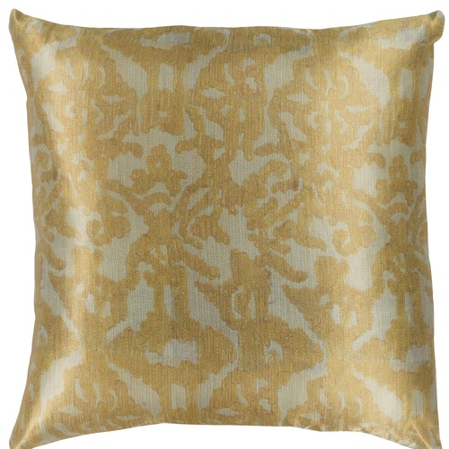 """18"""" Yellow and Green Damask Patterned Square Woven Throw Pillow – Down Filler - IMAGE 1"""