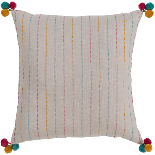 """18"""" Ivory Hand Embroidered Stripe Pattern Square Throw Pillow with Pom Poms - Down Filler - IMAGE 1"""