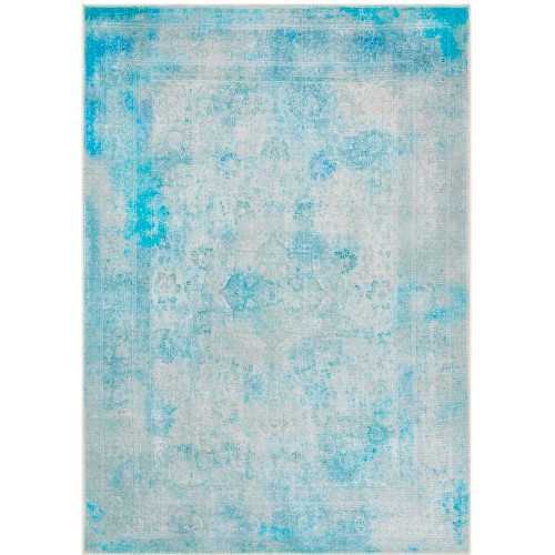 2' x 3' Distressed Blue and Gray Floral Mandala Design Rectangular Machine Woven Area Rug - IMAGE 1