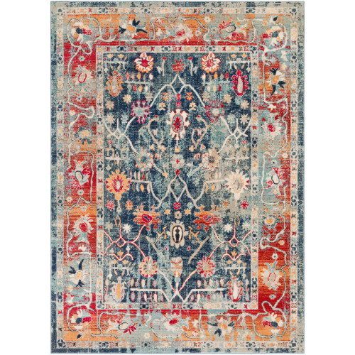 2' x 3' Distressed Seamless Pattern Blue and Red Rectangular Machine Woven Area Throw Rug - IMAGE 1