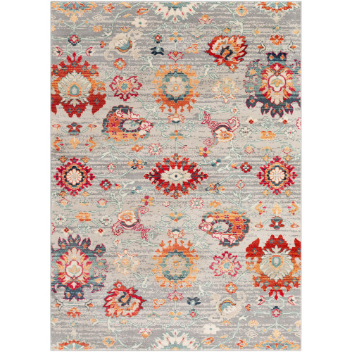 2' x 3' Seamless Pattern Gray and Red Rectangular Machine Woven Area Throw Rug - IMAGE 1