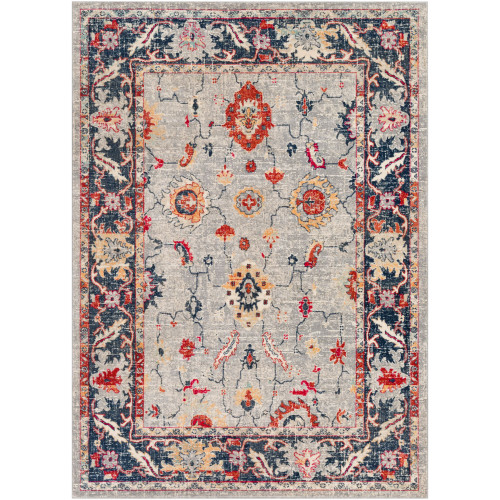 2' x 3' Distressed Oriental Style Bright Red and Gray Rectangular Machine Woven Area Throw Rug - IMAGE 1