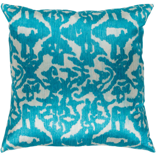 """20"""" Teal Blue and Green Damask Patterned Square Woven Throw Pillow – Polyester Filler - IMAGE 1"""