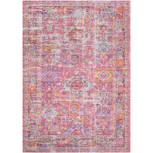 2' x 3' Distressed Pink and Purple Persian Floral Design Rectangular Machine Woven Area Rug - IMAGE 1