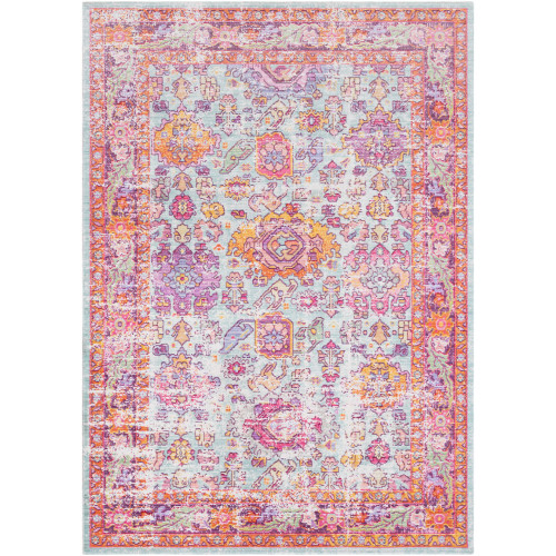 2' x 3' Distressed Pink and Green Persian Floral Rectangular Machine Woven Area Rug - IMAGE 1