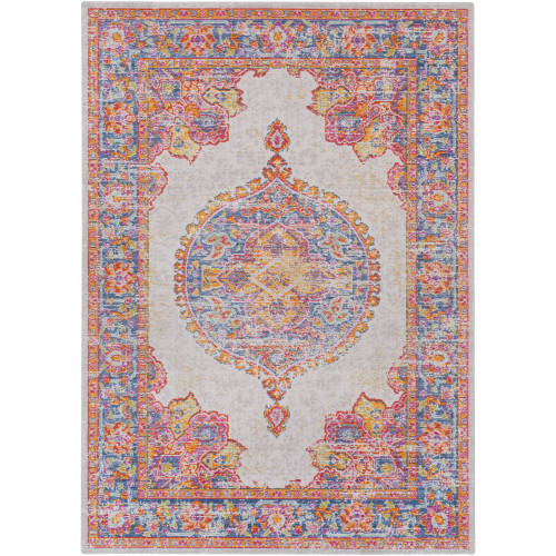 2' x 3' Distressed Pink, Purple and Gray Persian Medallion Design Rectangular Machine Woven Area Rug - IMAGE 1
