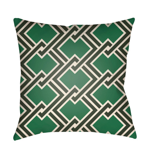 """16"""" Green and Black Fret Digitally Printed Square Throw Pillow Cover - IMAGE 1"""
