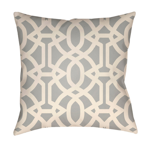 """16"""" Gray and White Imperial Trellis Printed Square Throw Pillow Cover - IMAGE 1"""
