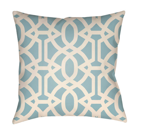 """16"""" Sky Blue and White Imperial Trellis Printed Square Throw Pillow Cover - IMAGE 1"""