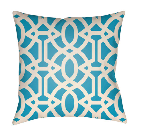 """16"""" Blue and White Imperial Trellis Printed Square Throw Pillow Cover - IMAGE 1"""