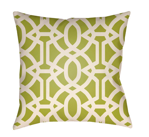 """16"""" Green and White Imperial Trellis Printed Square Throw Pillow Cover - IMAGE 1"""