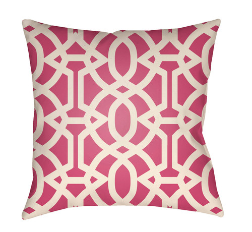 """16"""" Pink and White Imperial Trellis Printed Square Throw Pillow Cover - IMAGE 1"""