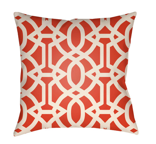 """16"""" Red and White Imperial Trellis Printed Square Throw Pillow Cover - IMAGE 1"""