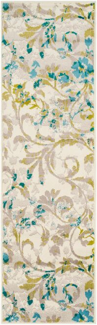 2.1' x 7.5' Floral Blue and Green Rectangular Area Throw Rug Runner - IMAGE 1
