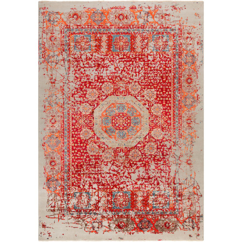 9' x 13' Distressed Finish Red and Blue New Zealand Wool Area Throw Rug - IMAGE 1