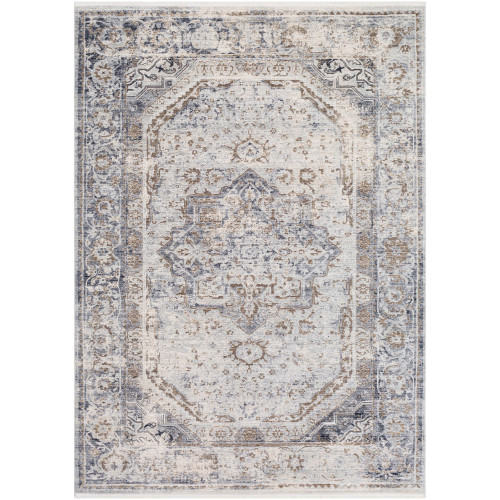 9' x 13' Distressed Finish Gray and White Rectangular Area Throw Rug - IMAGE 1