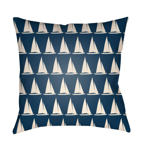 """16"""" Ivory and Blue Sailboat Printed Square Throw Pillow Cover - IMAGE 1"""