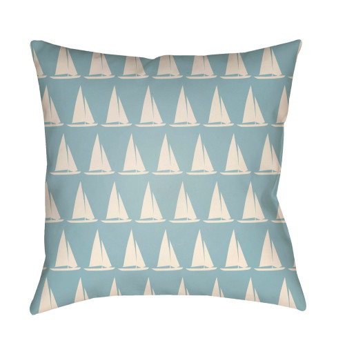 "16"" Ivory and Stone Blue Sailboat Printed Square Throw Pillow Cover - IMAGE 1"