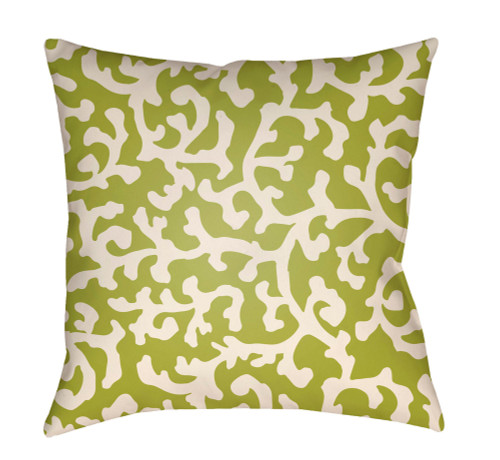"""16"""" Lime Green and White Botanical Motif Throw Pillow Cover with Knife Edge - IMAGE 1"""