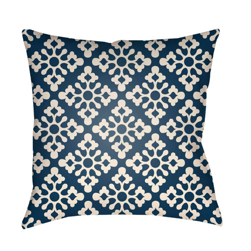 "16"" Navy Blue and White Square Throw Pillow Cover with Knife Edge - IMAGE 1"