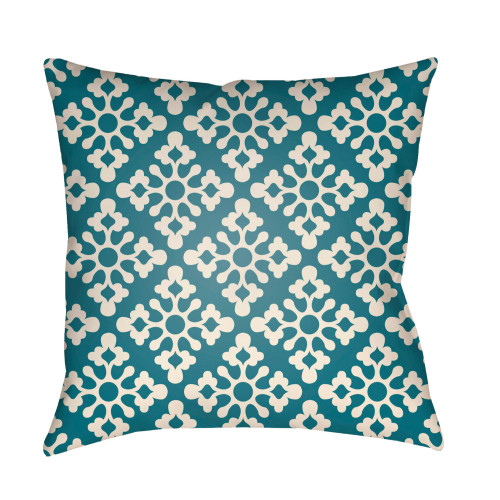 """16"""" Teal Blue and White Damask Square Throw Pillow Cover - IMAGE 1"""