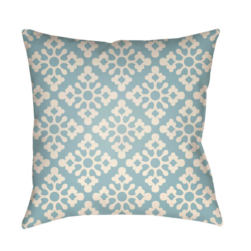 """16"""" Pale Blue and White Damask Square Throw Pillow Cover - IMAGE 1"""