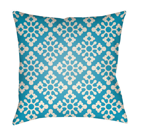 "16"" Sea Blue and White Damask Square Throw Pillow Cover - IMAGE 1"