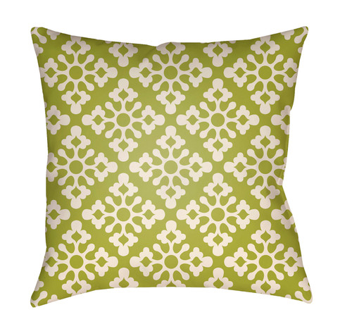 "16"" Green and White Damask Square Throw Pillow Cover - IMAGE 1"
