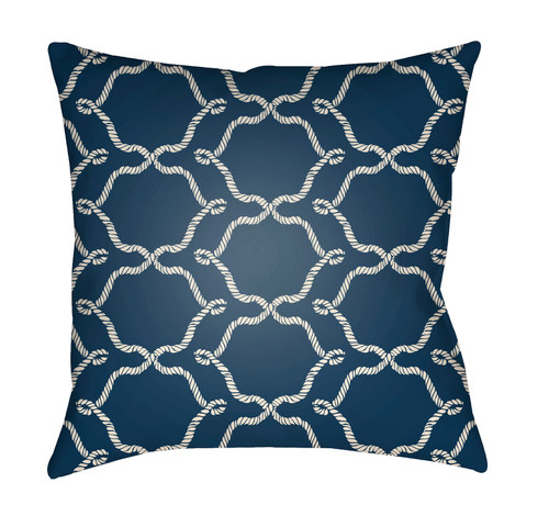 """16"""" Denim Blue and White Damask Square Throw Pillow Cover - IMAGE 1"""