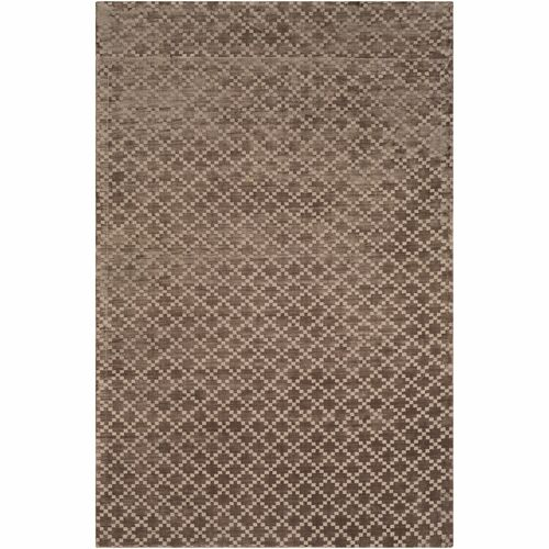 8' x 10' Lattice Brown and White Rectangular Area Throw Rug - IMAGE 1