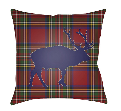 """18"""" Red and Blue Buffalo Printed Square Throw Pillow Cover - IMAGE 1"""