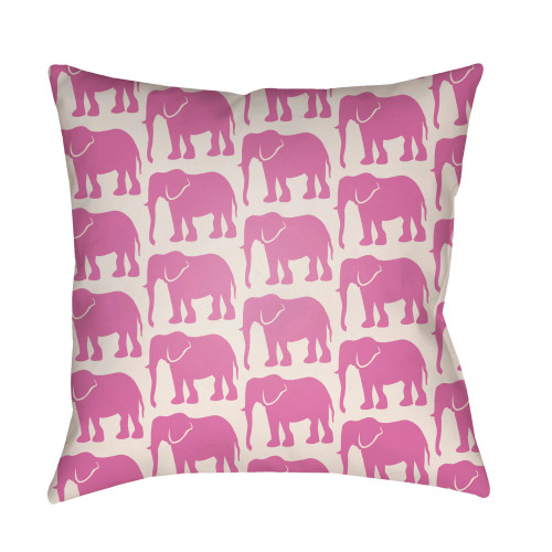 """16"""" White and Pale Pink Elephants Printed Square Throw Pillow Cover - IMAGE 1"""