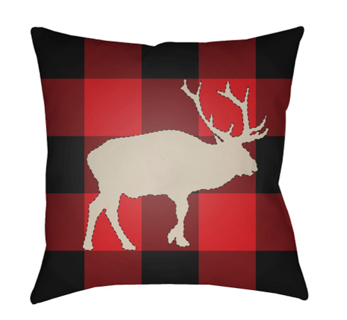 """18"""" Red and Black Buffalo Printed Square Throw Pillow Cover - IMAGE 1"""