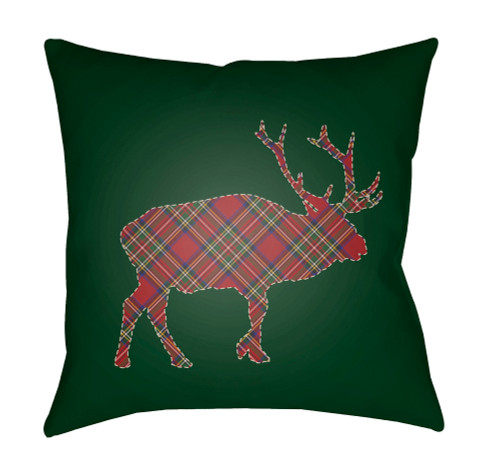 """18"""" Green and Red Buffalo Printed Square Throw Pillow Cover - IMAGE 1"""