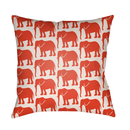 """16"""" White and Red Elephants Printed Square Throw Pillow Cover - IMAGE 1"""