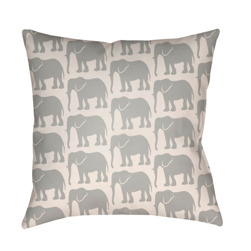 "16"" Gray and Ivory Elephants Printed Square Throw Pillow Cover - IMAGE 1"
