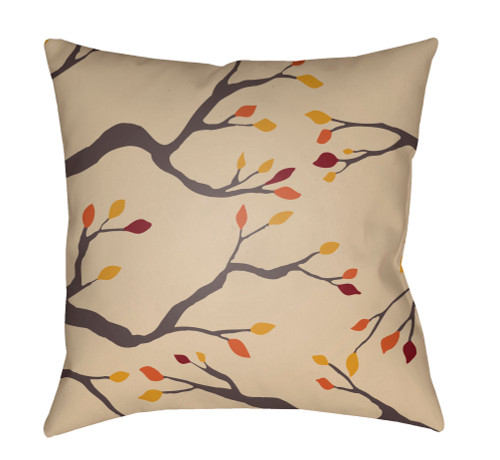 """18"""" Brown and Beige Branches Printed Square Throw Pillow Cover - IMAGE 1"""