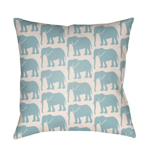 """16"""" Pale Blue and Ivory Elephants Printed Square Throw Pillow Cover - IMAGE 1"""