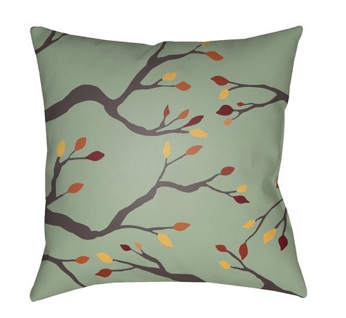"""18"""" Green and Black Branches Printed Square Throw Pillow Cover - IMAGE 1"""