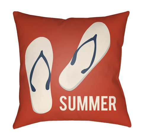 """16"""" Orange and Ivory """"SUMMER"""" Printed Square Throw Pillow Cover - IMAGE 1"""