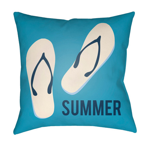 """16"""" Blue and Ivory """"SUMMER"""" Printed Square Throw Pillow Cover - IMAGE 1"""